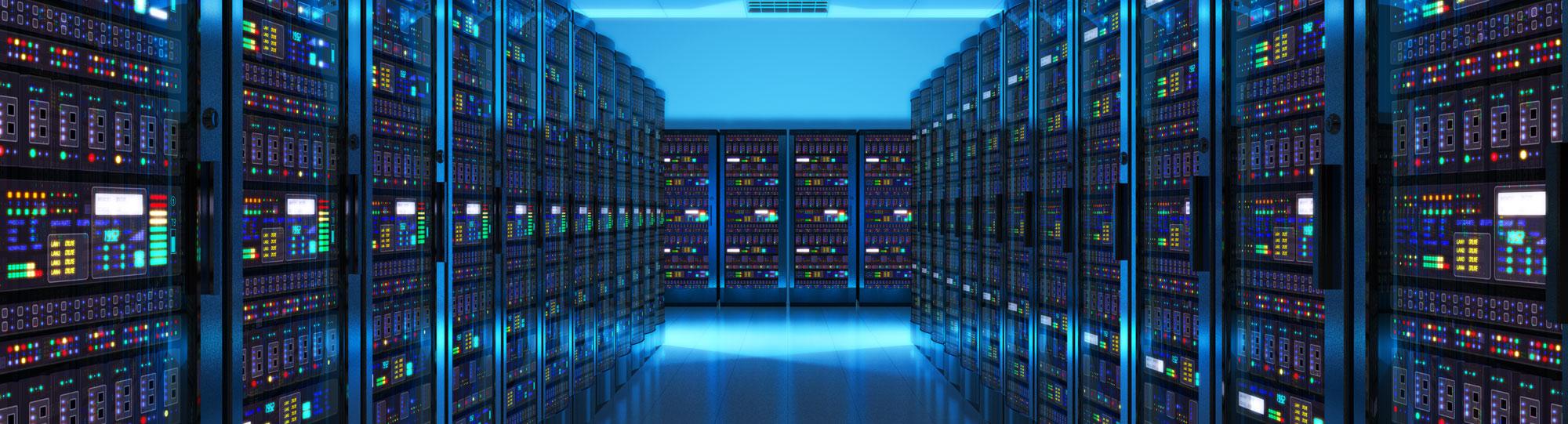 Server room with blue lighting