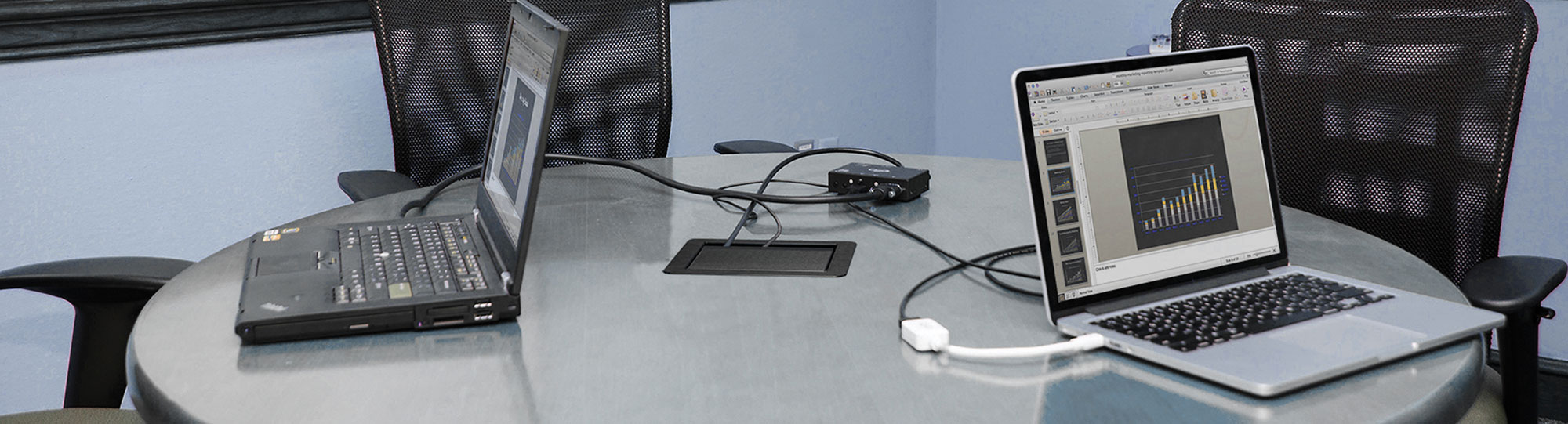 Laptop computers on table